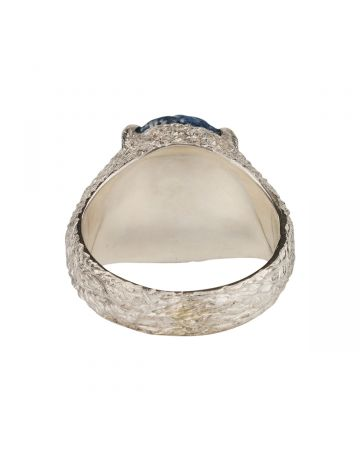 SWEETLIMEJUICE SILVER OVAL ZONG PLANET SIGNET RING / BLUE DENIM-CLEAR STONE