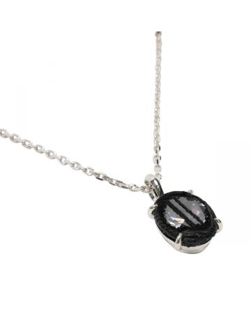 SWEETLIMEJUICE SILVER SPLIT CRUCIFIX OVAL ZONG NECKLACE / BLACK FABRICK-CLEAR STONE