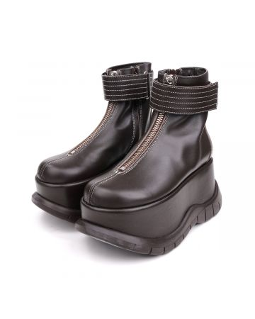 SUNNEI PLATFORM ZIP BOOT BROWN LEATHER / BROWN LEATHER