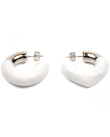 SUNNEI SMALL RUBBERIZED ROUND EARRING / WHITE