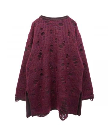SYU.HOMME/FEMM SPIDER MOHAIR KNIT PULL OVER / WINE