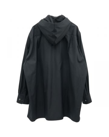 th products HOODED OVERSIZED SHIRT / BLACK