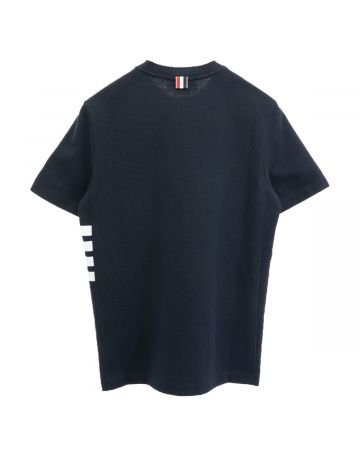 [お問い合わせ商品] THOM BROWNE. SHORT SLEEVE RIB CUFF TEE W/ ENGINEERED 4 BAR STRIPE IN CLASSIC PIQUE / 415 : NAVY