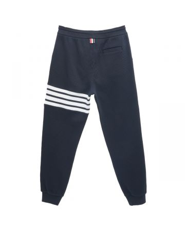 THOM BROWNE. SWEATPANTS IN WAFFLE WITH 4 BAR STRIPE / 415 : NAVY