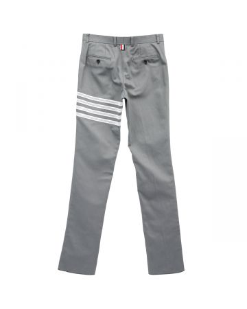 THOM BROWNE. UNCONSTRUCTED CLASSIC CHINO WITH 4 BAR BRODERIE ANGLAISE IN COTTON CANVAS / 035 : MED GREY