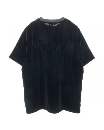 TEAM WANG PRINTED LOGO VELVET T-SHIRT / BLACK
