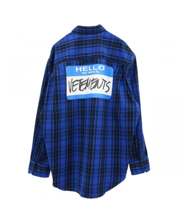 VETEMENTS MY NAME IS VETEMENTS FLANNEL SHIRT / BLUE CHECK