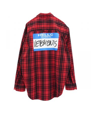 VETEMENTS MY NAME IS VETEMENTS FLANNEL SHIRT / RED CHECK