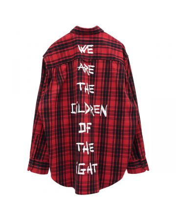 VETEMENTS ANARCHY/CHILDREN OF THE NIGHT FLANNEL SHIRT / RED CHECK