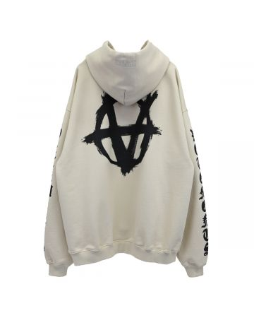 VETEMENTS DOUBLE ANARCHY LOGO HOODIE / OFF WHITE-BLACK