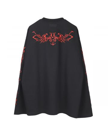 VETEMENTS TRIBAL EMBROIDERED LONGSLEEVE / BLACK-RED