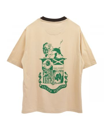 WALES BONNER JOHNSON BADGE CREST T-SHIRT / 100 : BEIGE