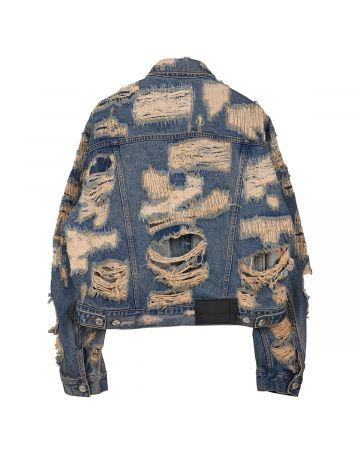 WE11DONE UNISEX DESTROYED DENIM JACKET / BLUE