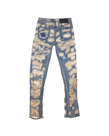 WE11DONE MENS DESTROYED DENIM PANTS / DIRTY BLUE