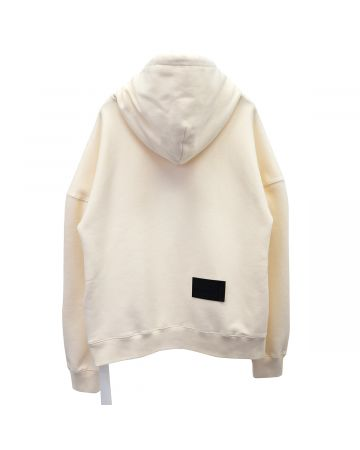 WE11DONE EMBROIDERED TEDDY HOODIE / IVORY