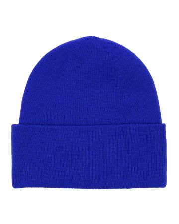 WE11DONE LOGO PATCHED WIDE RIB BEANIE / BLUE