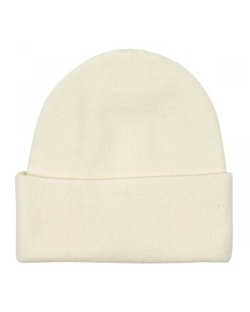 WE11DONE LOGO PATCHED WIDE RIB BEANIE / WHITE