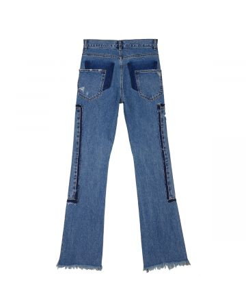 WE11DONE WASHED PATCH WORK JEANS / BLUE