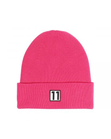 WE11DONE LOGO EMBROIDERED BEANIE / PINK
