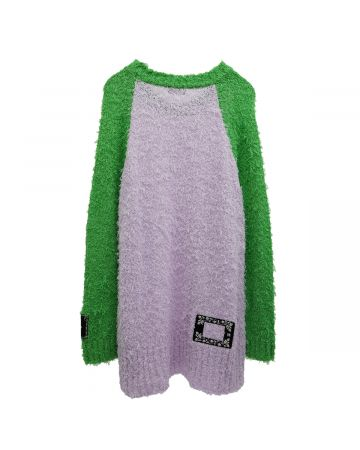 WE11DONE FLUFFY LEGLAN SLEEVE KNIT TOP / GREEN