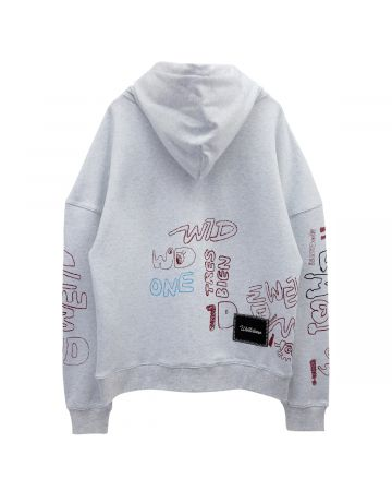 WE11DONE WE11DONE GRAFFITI VER.1 LONG SLEEVE HOODIE / WHITE (ASH GREY)
