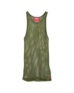 032c NET TOP WITH LOGO EMBROIDERY / OLIVE