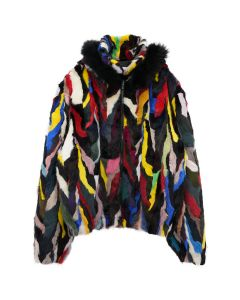 369 MULTICOLORED FUR ZIP HOODIE / MULTICOLOR