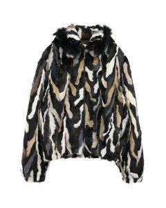 369 MULTICOLORED FUR ZIP HOODIE / MONOCHROME