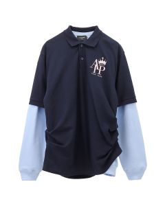 AFTERHOMEWORK SWEATER POLO / NAVY-BLUE