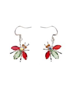 ART SCHOOL FLY EARRING PAIR SKEW 1 / CRYSTAL-STERLING SILVER