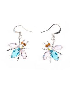 ART SCHOOL FLY EARRING PAIR SKEW 3 / CRYSTAL-STERLING SILVER