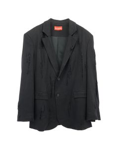 ART SCHOOL SHREDDED OVERSIZED TAILORED JACKET / BLACK