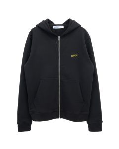 AFFIX BASIC EMBROIDERED ZIP UP HOODIE / BLACK