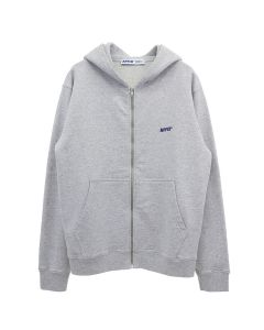 AFFIX BASIC EMBROIDERED ZIP UP HOODIE / GREY MARL