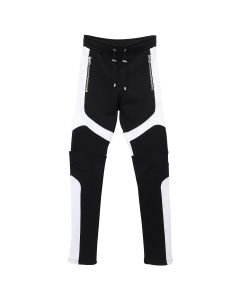 BALMAIN BH1 PANTS JOGGING BIKER SWEAT / EAB : BLK-WHT