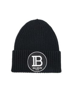 BALMAIN BH2 ACC CAP KNIT B-BADGE / OPA : BLACK