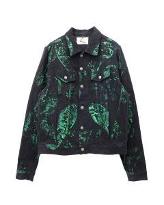 BOND VAULT IGGY ALL FORCE PAINT DENIM TRUCKER / VINTAGE BLACK-SLIME GREEN