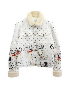 Casablanca PRINTED DENIM JACKET WITH SHERPA COLLAR / 069 : FAMILLE DE CHIOT