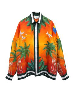 Casablanca PRINTED LONG SLEEVE SILK SHIRT / 050 : TENNIS CLUB SUNSET