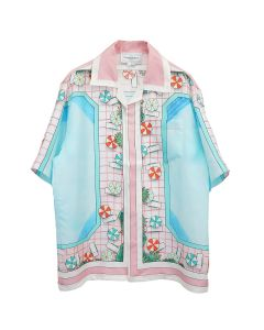 Casablanca PRINTED SHORT SLEEVE SILK SHIRT / 027 : COPACABANA PINK