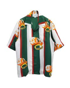 Casablanca PRINTED SHORT SLEEVE SILK SHIRT / 040 : ORANGE STRIPES GREEN