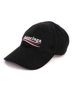BALENCIAGA 410B2/HAT POLITICAL BASEBALL / 1077 : BLACK-WHITE