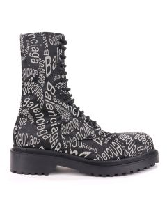 BALENCIAGA W1T50/LEATHER BOOT RUBBER SOLE / 1006 : BLACK WHITE