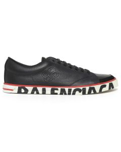 BALENCIAGA WAZH1/LEATHER SNEAKER RUBBER / 1000 : BLACK-BLACK