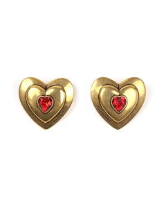 BALENCIAGA TZ12J/HEART EARRINGS P / 1408 : ANTIQUE GOLD