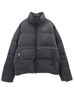 C2H4 VAGRANT CORDUROY PANELLED DOWN JACKET / CHARCOAL GRAY