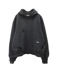 C2H4 VAGRANT DOUBLE LAYER DISTRESSE HOODIE / CHARCOAL GRAY