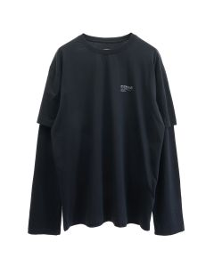 C2H4 DOUBLE LAYERD LONG-SLEEVE T-SHIRT / BLACK
