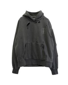 C2H4 DISTRESSED SCULPTURE PRINT HOODIE / BLACK