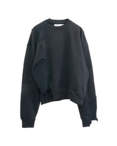 C2H4 DISTRESSED PANELLED CREWNECK / FUZZY BLACK